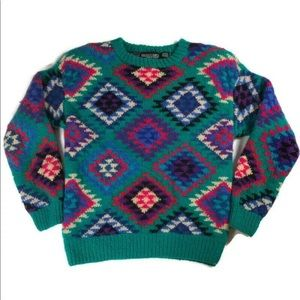 Vintage Nordstrom sweater green wool Aztec medium